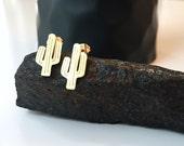 Gold Plated Cactus Earrings - Tiny Cactus Earrings - Dainty, Delicate Gold Saguaro Cactus Earrings