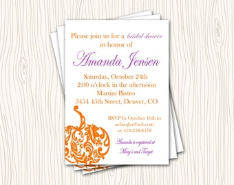 Little Pumpkin Autumn Fall Bridal Baby Wedding Shower Invitation Card   - Any Color