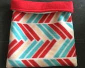 Red and Blue Chevron Fleece and Red Fleece Snuggle Bag