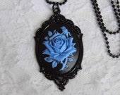 Blue Black Morbid Rose Goth Necklace Pendant Victorian Steampunk Cameo ROCKABILLY