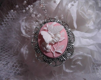 White and Pink Butterfly Cameo Ladies Silver Filegre art designer Necklace Pendant
