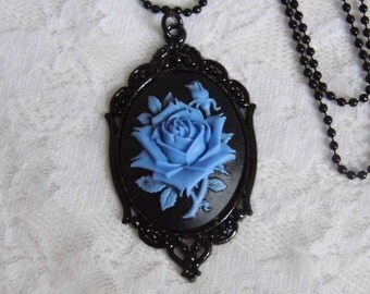 Blue Black Morbid Rose Goth Necklace Pendant Victorian Steampunk Cameo