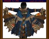 eLf cOAT, elf sweater, sweater coat, size L, size XL, hoodie, pixie, fairy, costume, gypsy, patchwork coat. sweater dress, OOAK