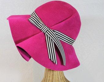 Wide Brim Hat in Magenta Pink Velour Felt ~ Marlene ~ women's rain hat, 70s floppy ~ handmade by Bonnet, your local Portland millinery