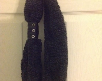 Hand knit infinity scarf charcoal gray