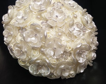 Ivory pearl flower & rhinestone bouquet