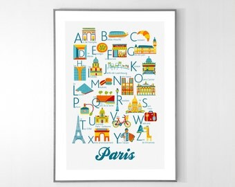 PARIS Alphabet Poster from A to Z, BIG POSTER 13x19 inches