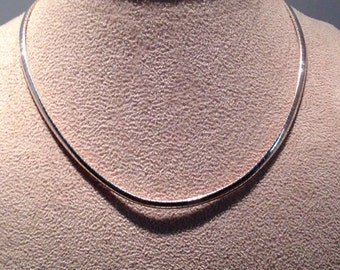 Sterling Silver Snake Omega Serpentine Necklace Choker 925 Italy