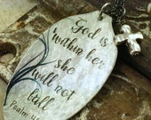 Spoon Necklace Psalm 46:5 God is within her, she will not fall Pendant with Cross, Inspiring Jewelry, Silverware Jewelry by Kyleemae Designs