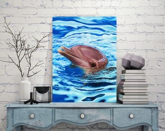 Dolphin Wildlife Art Metal Print, Wall Art, Drawing, Painting, Colored Pencil Art