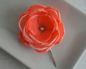 Coral Red flower of fabric in handmade, Weddings bridesmaids women Accessory hair shoe clip, Flower girls gift dress sash brooch