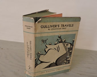 Vintage Children's Book - Gulliver's Travels by Jonathon Swift - 1931 - Adventure Novel - A Tale Of A Tub - The Battle Of The Books