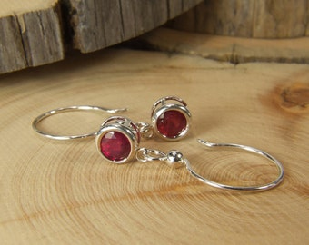 Ruby (6.0mm Natural Ruby), 6mm x 1.35 Carat, Round Cut, Sterling Silver Dangle Earrings