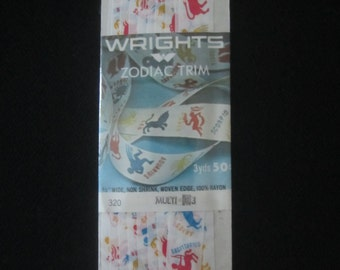 Vintage Wrights Zodiac Horoscope Trim Seam Binding - New Package - 3 yards - 1969 - Non Shrink Woven Edge Sewing Craft Supplies Boho Supply