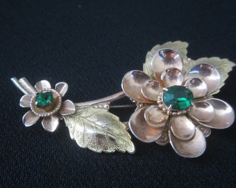"""Vintage Sterling Silver Vermeil Brooch Pin Large Flower With Emerald Green Faceted Stones Gold Plate 3.5"""" Filigree Leaves Retro Jewelry"""