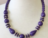 80s vintage retro purple acrylic large round ball, disk, and teardrop beads necklace