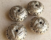 chunky eco friendly silver tone metal edwardian design inspired saucer shaped beads--matching lot of 4