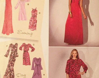 uncut nos printed sewing pattern//multi size evening dress and day dress//sizes misses 6-14//by simplicity