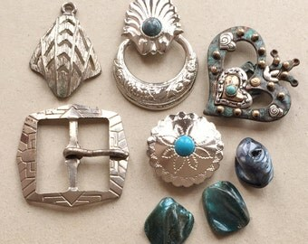 eco friendly silver tone metal southwestern jewelry components and shell beads--mixed lot of 8 items