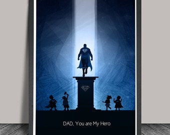 Fathers Day Gift SuperMan Print Gifts for Dad Wall Art Print Birthday Gift for Dad Superhero Minimalist  Hero Illustrations,Christmas Gift