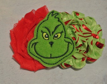 The Grinch Inspired Hair Clip - Shabby Chic Flowers - Ready To Ship! - Christmas Hair Clip