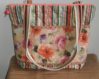 Quilted purse, medium size, floral and stripe fabric by Florence