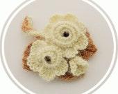 Crochet Brooch - Ivory Rose Brooch - Corsage Brooch Pin - Fluffy Brooch - Autumn - Christmas Ocasion Party Brooch