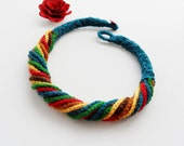 Crochet Necklace - Multicolored Necklace - Chunky Crochet Chain Necklace Choker