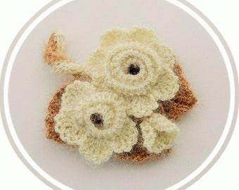 Crochet Brooch - Ivory Rose Brooch - Corsage Brooch Pin - Fluffy Brooch - Autumn - Christmas Ocasion Party Brooch