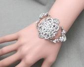 SWAROVSKI Pearls/Freshwater pearl Vintage Style Flower Wedding Bridal Cuff Armlet Rhinestone Crystals Bracelet