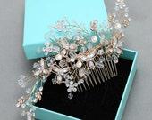 Gold Hair Comb, Crystal Pear,l Bridal Hair Piece, Wedding Jewelry, Rhinestone Gold Hair Combs, Pearl Flower Headpiece, Bridal Pearl Comb