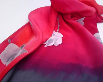 Hand painted silk scarf with silver irises in gray and red. Red, Lead gray, silver.