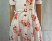 Reserved Listing 70s Does 40s Vintage Red Rose Print Cotton Floral Tea Dress.