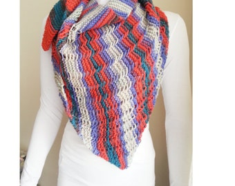Colorful Triangle Shawl, Chunky Knit Shawl, Shawl Shrug Capelet, Womens Accessories, Womens Gift, Shabby Chic,autumn,Knitting