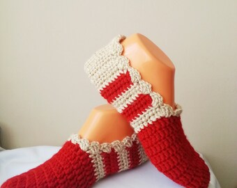 Autumn Red Beige Healthy Booties Home slippers, Dance classic yoga, house slippers, crochet shoes, balletflats pilates yogasocks