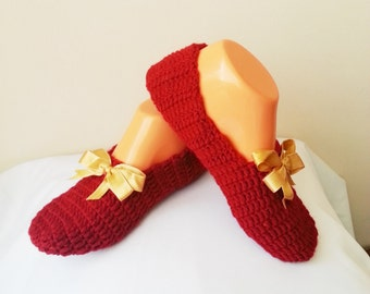 Autumn Red Gold Ribbon Healthy Booties Home slippers, Dance classic yoga, house slippers, crochet shoes, balletflats pilates yogasocks