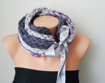 GREY Lilac Bubble Loop Scarf Necklace, - Infinity Scarf ,Noodle Scarves Fashion Neckwarmer Circle Necklace Chunky Cowl