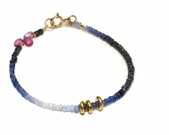 Ombre Sapphire Beaded Bracelet. Simple Stacking Bracelet with Pink Tourmaline Briolettes. Gold Fill or Sterling Silver. B-1931
