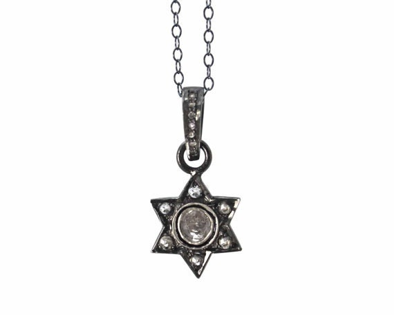 Pave Diamond Star of David in sterling silver. Great Hanukkah Gift, Bat Mitzvah Gift.  NM-1957-1