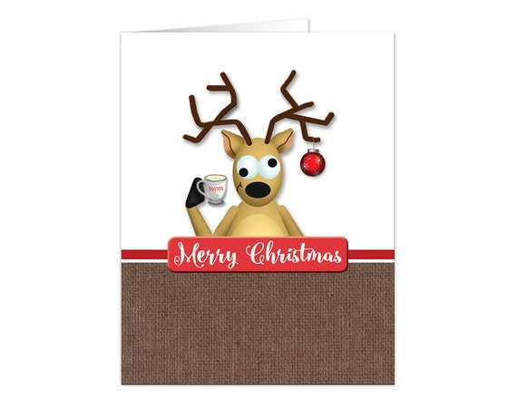 Christmas cards funny tipsy reindeer by artisticallyinvited for Funny reindeer christmas cards