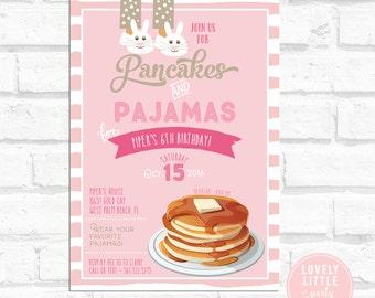Pancakes & Pajamas Invitation, Pancake Birthday, Pancake Breakfast, Pretty Pinks Lovely Little Party #2B
