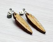 boho wooden feather earrings silvered hippie wood jewelry