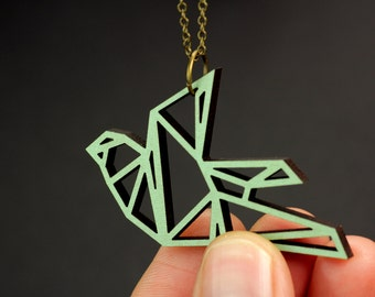 reversible origami bird necklace mint and copper wooden pendant