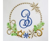 Christmas Monogram Font Frame Embroidery Machine Embroidery Design CHR032