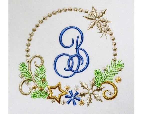 Christmas monogram font frame embroidery machine