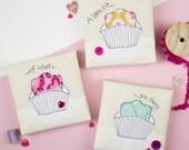 Fondant fancy embroidery art - cake art - gift for cake lover - cakes appliqué - Kitchen art - Food fabric art - Food gift - Cake gift