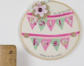 Baby girl embroidery hoop art - New baby gift - Personalised gift - Children's room decoration - Children's art - new baby girl art