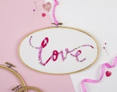 Love Embroidery Hoop - Love appliqué - Valentine's gift - Anniversary gift - Love art - Love token - Love textile art - Gift for friend