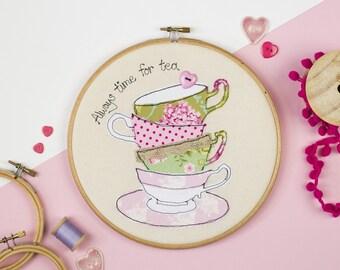 Tea time embroidery hoop art - Gift for Tea lover - Kitchen art - Teacup embroidery hoop wall - Tea lover art - Always time for tea