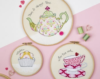 Tea time art embroidery - Cake art - Teapot art - Embroidery hoop art - Tea textile art - kitchen art - Cake gift - Food gift - Teatime gift